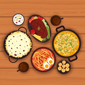 Ilustracja kolekcji żywności komfort