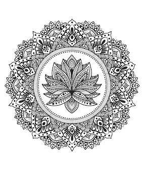 Ilustracja koło mandali z kwiatem ornamentu lotosu