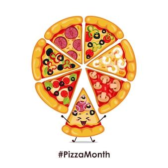 Ilustracja koło pizzy. postać ikona animacji kreskówki