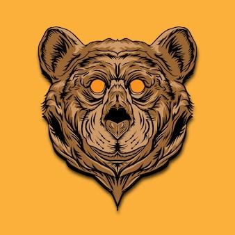 Ilustracja kolor głowy niedźwiedzia