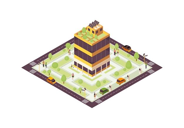 Ilustracja kolor izometryczny eko miasta. inteligentny budynek z siecią słoneczną, plansza drzew. zielony, zrównoważony, ekologiczny dom koncepcja 3d. zużycie energii odnawialnej. izolowany element projektu