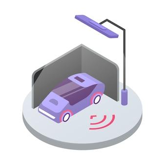Ilustracja kolor izometryczny systemu alarmowego samochodu. monitorowanie bezpieczeństwa transportu. samochód na publicznym parkingu. system bezpieczeństwa pojazdu 3d koncepcja na białym tle