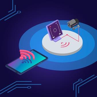 Ilustracja kolor izometryczny systemu bezpieczeństwa. zdalne sterowanie kamerą monitorującą, aplikacja na smartfony do monitorowania. inteligentna ochrona domu, koncepcja systemu alarmowego 3d na białym tle na niebieskim tle
