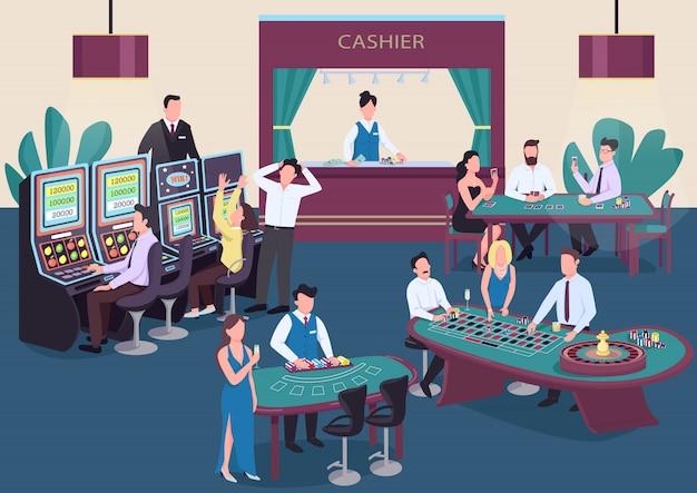 Ilustracja kolor kasyna. ludzie grają w pokera przy stole. człowiek kręci kołem ruletki. kobieta na automacie. postaci z kreskówek hazardzisty we wnętrzu z kasjerem w tle