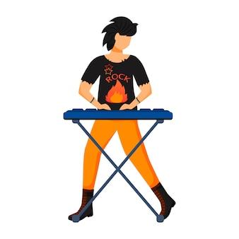 Ilustracja kolor klawiatury. odtwarzacz klawiatury. muzyk. członek zespołu muzycznego. rock and roll. punk. człowiek z instrumentem muzycznym. koncert, koncert. postać z kreskówki na białym tle na biały