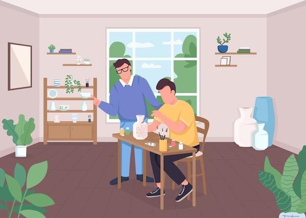 Ilustracja kolor płaski klasy ceramiki. wazon z farbą rzemieślniczą. twórcze hobby. warsztaty artystyczne. nauczyciel plastyki i uczeń postaci z kreskówek 2d z wnętrzem klasy na tle