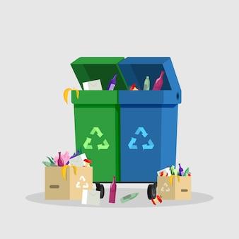 Ilustracja kolor płaski pojemniki na śmieci. gospodarka odpadami, redukcja i sortowanie śmieci, puszki na śmieci ze znakami recyklingu na białym. cartoon pełne kosze na śmieci, pojemniki na śmieci z odpadkami