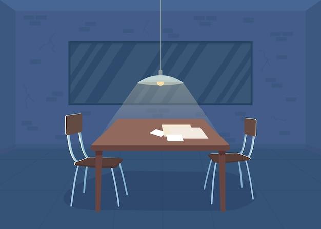 Ilustracja kolor płaski pokój przesłuchań. policja. biuro detektywistyczne. zatrzymanie dla podejrzanego o popełnienie przestępstwa. pusty pokój śledczy wnętrze kreskówka 2d z dwustronnym lustrem na tle