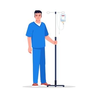 Ilustracja kolor pół rgb męskiej pielęgniarki