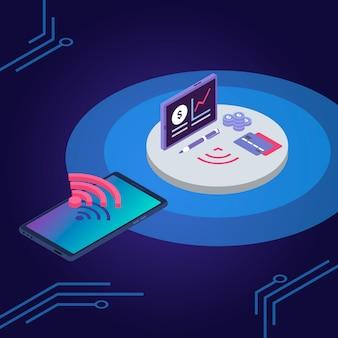 Ilustracja kolor portfela e. karta kredytowa, aplikacja na smartfona z portfelem elektronicznym. koncepcja połączenia bezprzewodowego iot, karty debetowej i telefonu komórkowego na niebieskim tle