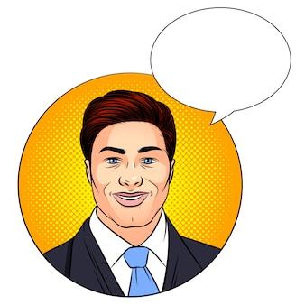 Ilustracja kolor przystojny mężczyzna w stylu pop-art, uśmiechając się. twarz szczęśliwego młodego człowieka w garniturze. pomyślny biznesmen nad kropki tłem z mowa bąblem