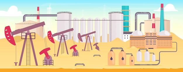 Ilustracja kolor roślin przemysłowych rafinerii. krajobraz kreskówka stacji wydobycia gazu z kominami na tle. platforma wiertnicza na lądzie z pompami. sprzęt do wydobywania surowców naturalnych
