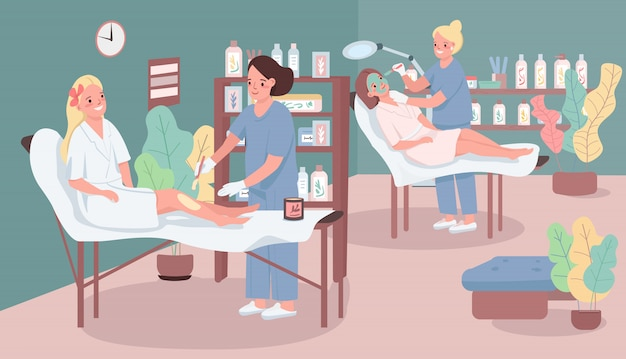 Ilustracja kolor salon piękności. kobieta wprowadzenie wosku na nogi klienta. kobieta coraz maska na twarz. beautician postaci z kreskówek z centrum spa meble na tle