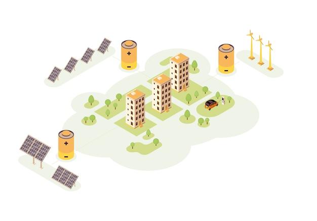 Ilustracja kolor stacji energii odnawialnej. plansza alternatywnej produkcji energii. ładowarka samochodowa elektryczna. koncepcja budynków ekologicznych. wiatrak, sieć słoneczna, bateria. strona internetowa, aplikacja mobilna