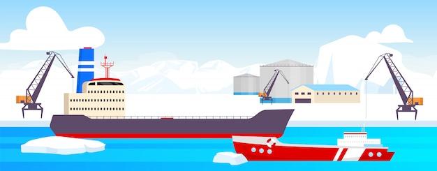 Ilustracja kolor stacji polarnej. arktyczny port kreskówka krajobraz z lodowcami na tle. zakład wydobycia zasobów bieguna północnego. teren przemysłowy z tankowcami, statkami towarowymi