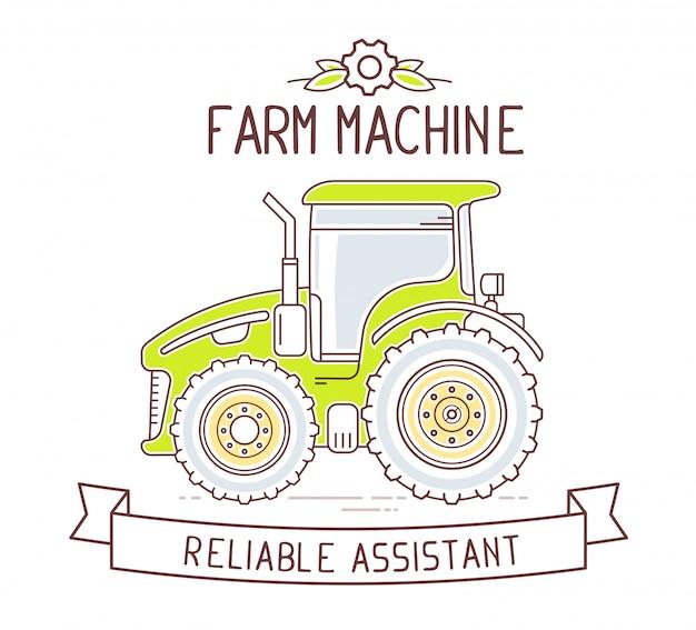 Ilustracja kolor szary i zielony maszyna rolnicza i wstążka z tekstem na białym tle.