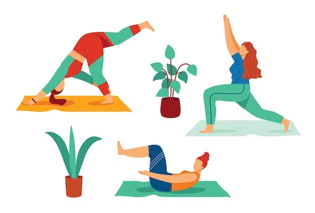 Ilustracja kolor w płaski na białym tle. dziewczyna zajmuje się jogą. kobieta praktykuje asany jogi. szczupła, młoda dziewczyna uprawia sport w domu