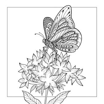 Ilustracja kolorowanki motyl