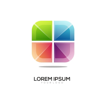 Ilustracja kolorowe logo w pudełku