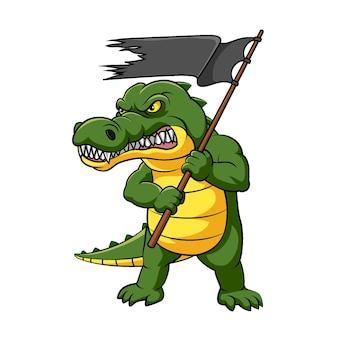 Ilustracja kolorowego krokodyla z gniewnym wyrazem trzymającym czarną flagę