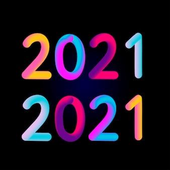 Ilustracja: kolorowy 3d numer 2021 na białym tle. szczęśliwego nowego roku.