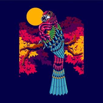 Ilustracja kolorowy ara, mandali zentangle i projekt koszulki