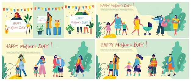 Ilustracja kolorowy dzień szczęśliwej matki.
