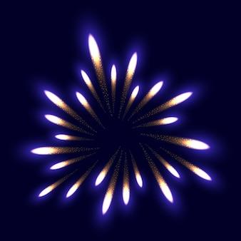 Ilustracja kolorowy fajerwerku kwiat. nocne niebo w tle.