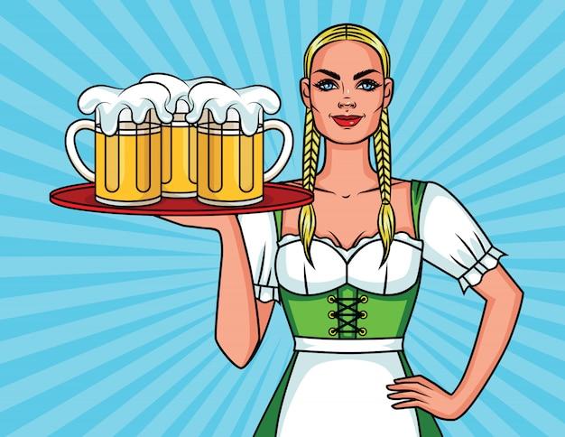 Ilustracja kolorowy komiks w stylu pop-art ładnej kelnerki z kuflem piwa