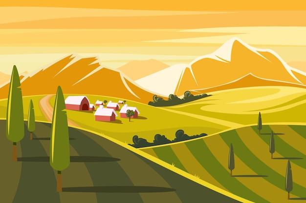 Ilustracja kolorowy krajobraz wsi