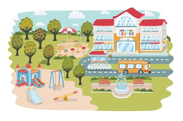 Ilustracja kolorowy kreskówka miasta
