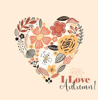 Ilustracja kolorowy kwiatowy jesień