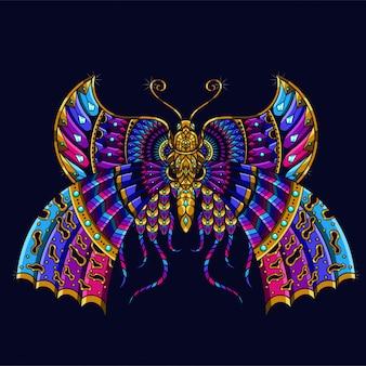 Ilustracja kolorowy motyl, mandala zentangle i projekt koszulki