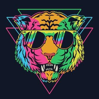 Ilustracja kolorowy okulary tygrys