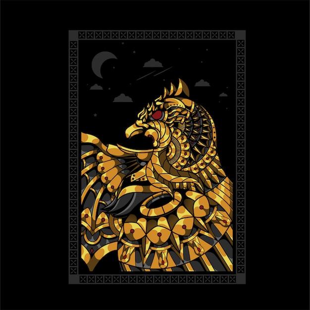 Ilustracja Kolorowy Orzeł, Mandali Zentangle I Projekt Koszulki Premium Wektorów