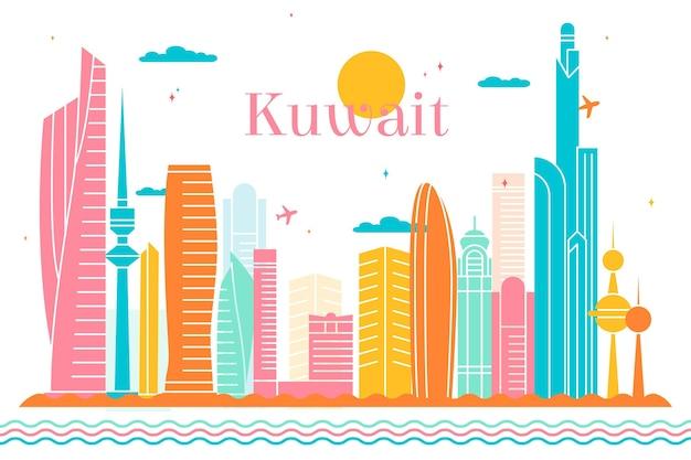 Ilustracja kolorowy panoramę kuwejtu