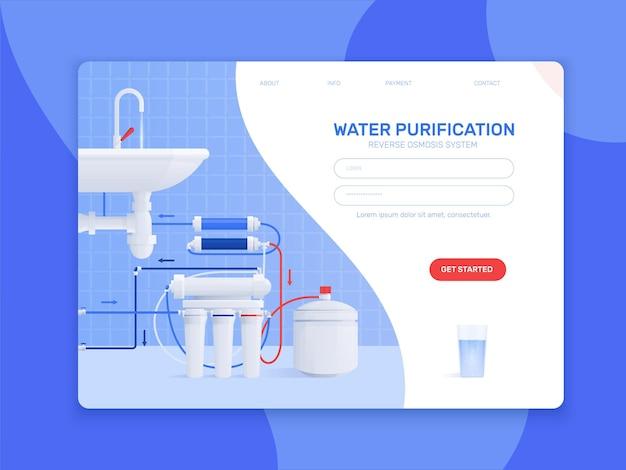Ilustracja kolorowy płaski filtr wody