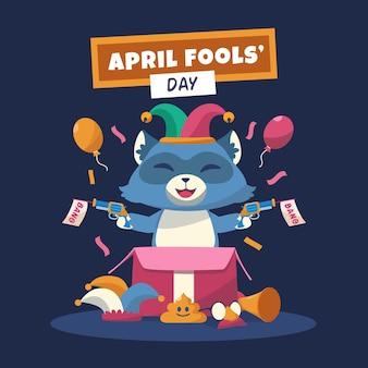 Ilustracja kolorowy płaski prima aprilis
