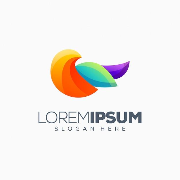 Ilustracja kolorowy projekt logo ptak kolorowy