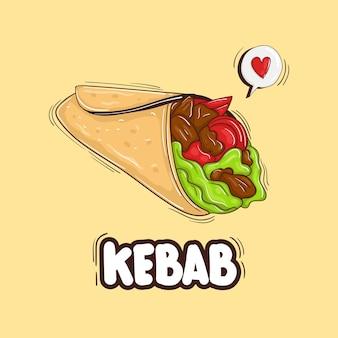 Ilustracja kolorowy ręcznie rysowane kebab