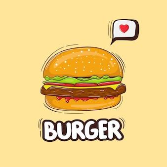 Ilustracja kolorowy ręcznie rysowane ser burger