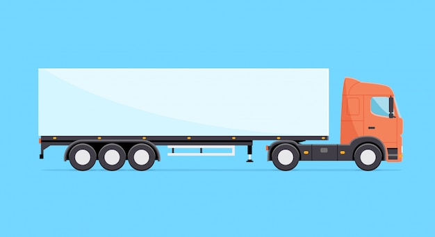 Ilustracja kolorowy wektor ciężarówka. ciężarówka z naczepą na białym tle w stylu płaski