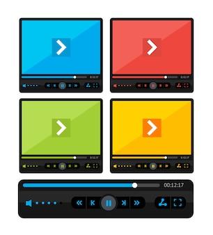 Ilustracja kolorowy zestaw karnacji odtwarzacza wideo samodzielnie na białym tle.