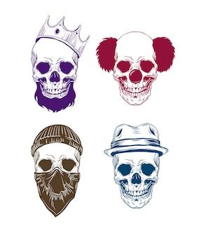 Ilustracja kolorowych czaszek z het