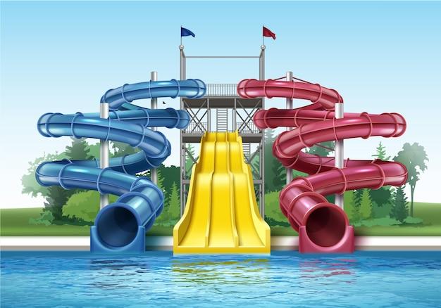 Ilustracja kolorowych plastikowych zjeżdżalni z basenem w odkrytym parku wodnym