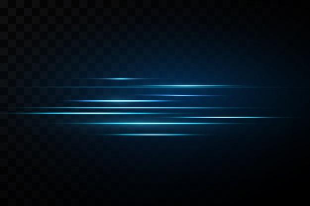 Ilustracja koloru niebieskiego. efekt świetlny. streszczenie wiązki światła laserowego. chaotyczne neonowe promienie światła.