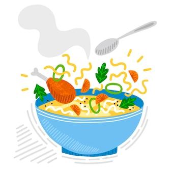 Ilustracja komfort żywności zupa z makaronem