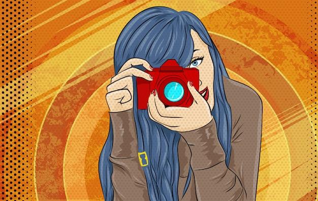 Ilustracja komiksu girl pop art