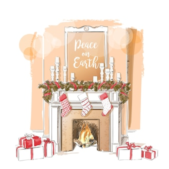 Ilustracja kominek świąteczny