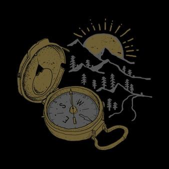 Ilustracja kompas przygoda góry